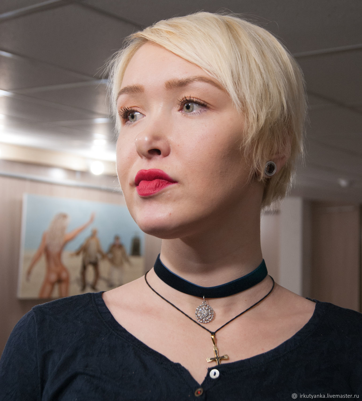 Choker on velvet ribbon with crystal pendant, Pendants, Irkutsk,  Фото №1