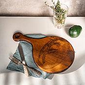 Посуда handmade. Livemaster - original item Wooden board made of a single piece of cedar wood for bread RD48. Handmade.
