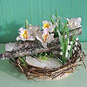 Для дома и интерьера ручной работы. Ярмарка Мастеров - ручная работа Цветочная композиция Весна в гнезде. Handmade.