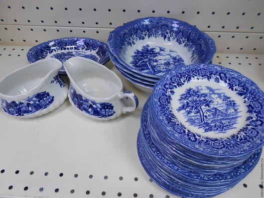 Винтажная посуда. Ярмарка Мастеров - ручная работа. Купить Сервиз столовый английский, винтаж ,60 предметов. Handmade. Синий, фарфор