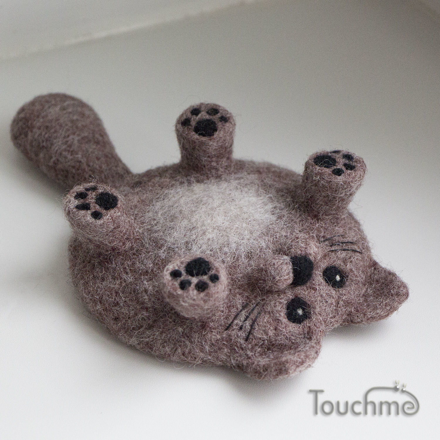 Cat 'Scratch your belly' gray-brown, Stuffed Toys, Elektrostal,  Фото №1