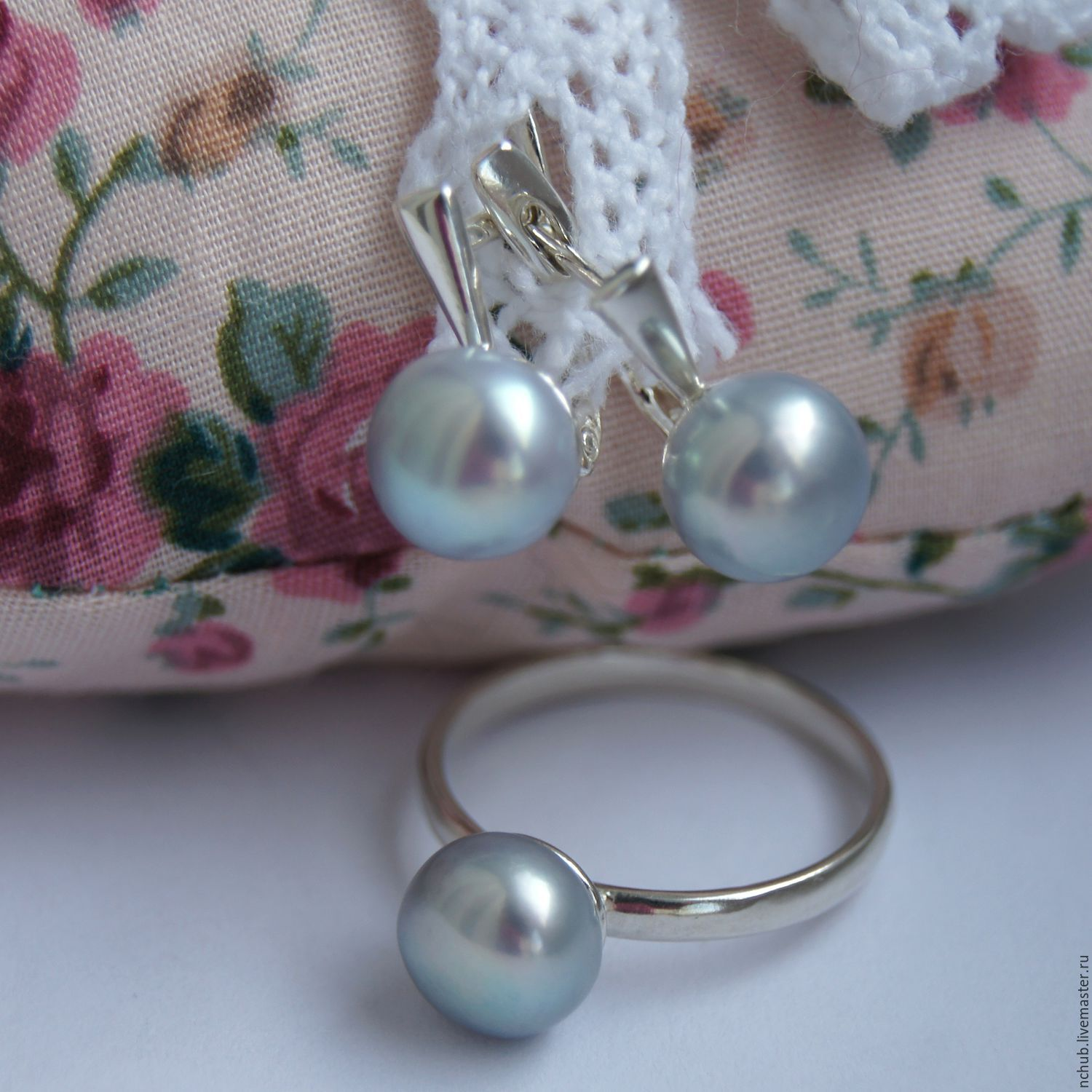 Silver earrings and ring with natural mint grey pearls set, Jewelry Sets, Moscow,  Фото №1