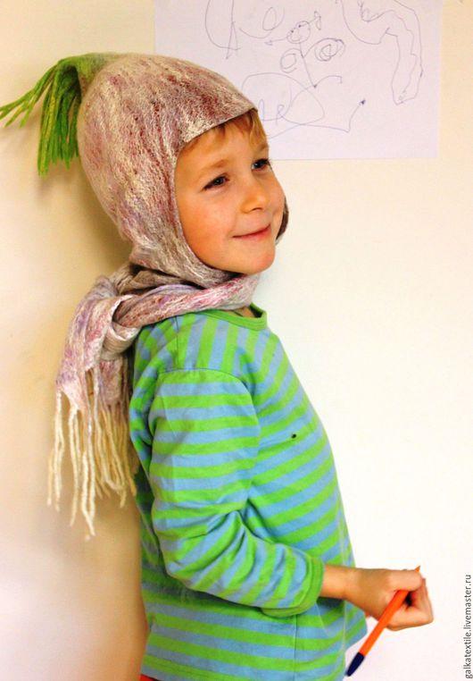 Войлочная шапочка `Чесночок`. Детские головные уборы.Купить на Ярмарка  Мастеров. Авторская  ручная работа. Galkina Natasha (galkatextile).