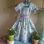 Работы для детей, ручной работы. Ярмарка Мастеров - ручная работа Платье мятный жасмин с синим шитьем для девочки. Handmade.