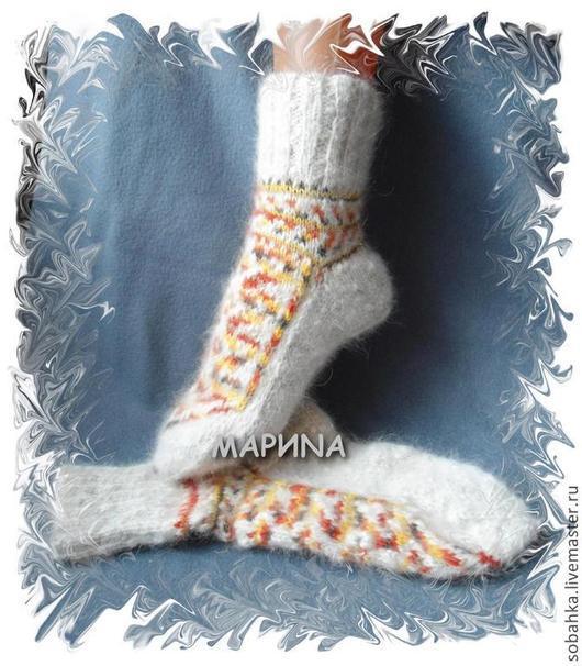 Носки, Чулки ручной работы. Ярмарка Мастеров - ручная работа. Купить носки САМОЦВЕТЫ собачья шерсть. Handmade. Орнамент, носочки