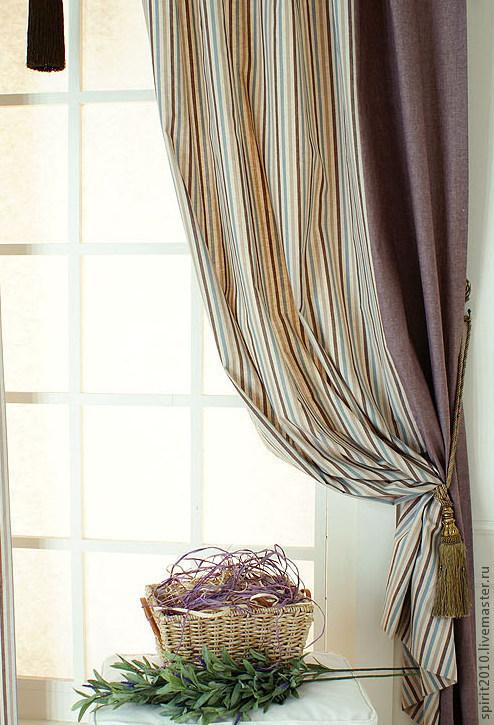 """Текстиль, ковры ручной работы. Ярмарка Мастеров - ручная работа. Купить Шторы льняные """"Прованс"""". Handmade. Голубой, штора из льна"""