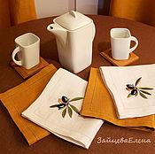Для дома и интерьера ручной работы. Ярмарка Мастеров - ручная работа комплект салфеток Оливки. Handmade.