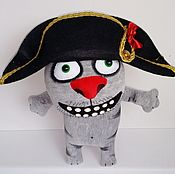 Stuffed Toys handmade. Livemaster - original item Soft toy plush grey cat Napoleon in hat. Handmade.