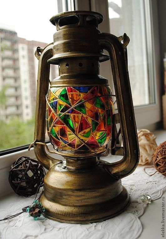 """Освещение ручной работы. Ярмарка Мастеров - ручная работа. Купить Керосиновая лампа """"Маскарад"""". Handmade. Керосиновая лампа, Декупаж, стекло"""
