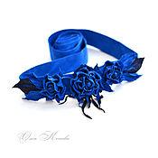 Аксессуары handmade. Livemaster - original item Sash belt Blue suede and leather roses flowers. Handmade.