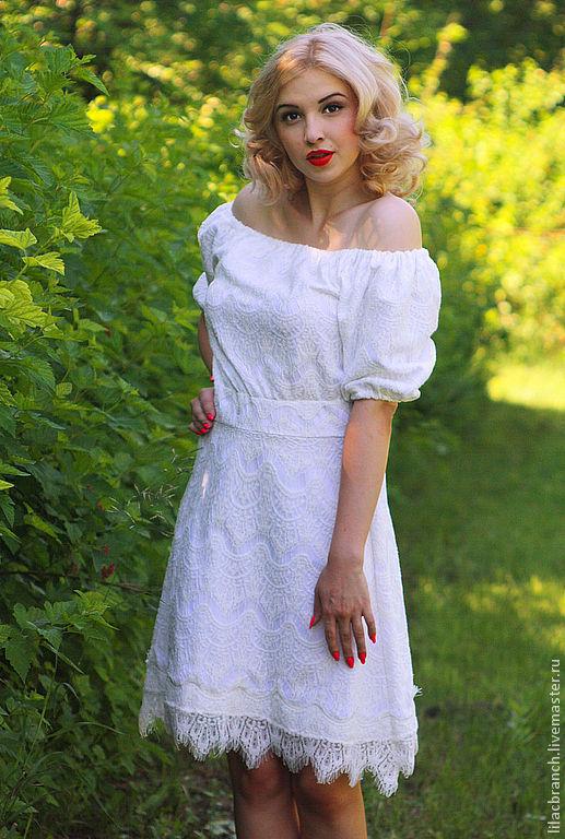 """Платья ручной работы. Ярмарка Мастеров - ручная работа. Купить Платье """"Кружевное-Белое"""". Handmade. Белый, платье летнее"""