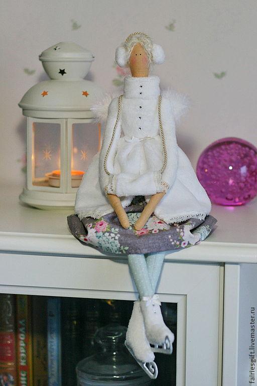 Куклы Тильды ручной работы. Ярмарка Мастеров - ручная работа. Купить Снежный ангел. Handmade. Белый, коньки, новогодний интерьер