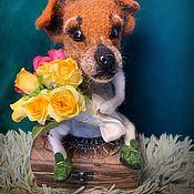 Статуэтка ручной работы. Ярмарка Мастеров - ручная работа Собака из шерсти Джек Рассел. Handmade.