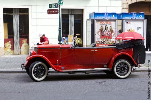 Фотокартины ручной работы. Ярмарка Мастеров - ручная работа. Купить Фотокартина Красный кабриолет (ретро). Handmade. Ярко-красный, кабриолет