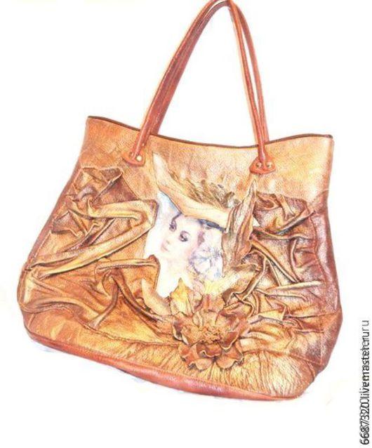 Женские сумки ручной работы. Ярмарка Мастеров - ручная работа. Купить Женская кожаная сумка  Осенний  блюз. Handmade. Коричневый
