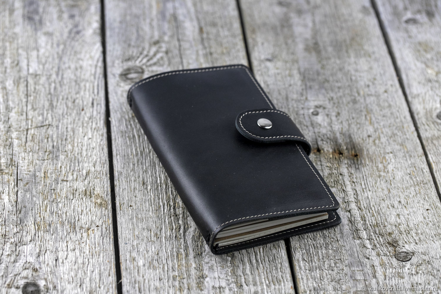 Black notebook made of genuine leather with replaceable notebooks, Notebook, Moscow,  Фото №1