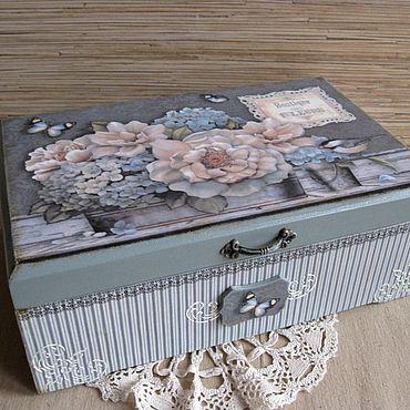"""Для дома и интерьера. Ярмарка Мастеров - ручная работа Шкатулка """"Цветы Прованса """". Handmade."""