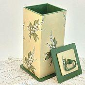 Для дома и интерьера ручной работы. Ярмарка Мастеров - ручная работа Домик для ватных дисков Ландыш. Handmade.