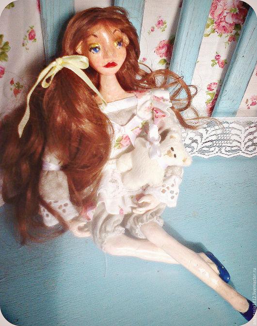 Коллекционные куклы ручной работы. Ярмарка Мастеров - ручная работа. Купить Куклена с мишуткой.. Handmade. Бледно-розовый, авторская игрушка