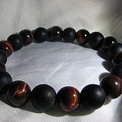Bead bracelet handmade. Livemaster - original item Bracelet on elastic with shungite and a bull`s eye. Handmade.