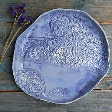 """Посуда ручной работы. Ярмарка Мастеров - ручная работа Голубое блюдо """"Синий сад"""". Handmade."""