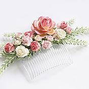 Украшения ручной работы. Ярмарка Мастеров - ручная работа Гребень с розами и лавандой. Handmade.