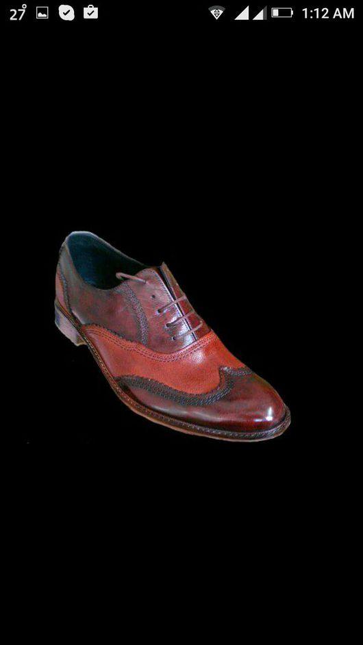 """Обувь ручной работы. Ярмарка Мастеров - ручная работа. Купить Мужские броги """"Зигзаг"""". Handmade. Комбинированный, обувь на заказ"""