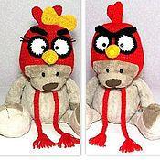 """Работы для детей, ручной работы. Ярмарка Мастеров - ручная работа """"Злые птички"""" детская шапочка ( шапка теплая зимняя вязаная с ушками). Handmade."""