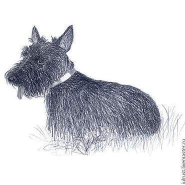 Картины и панно ручной работы. Ярмарка Мастеров - ручная работа Картина Верный Друг, рисунок карандашом серый темно-серый белый собака. Handmade.