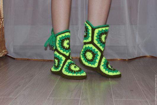 Обувь ручной работы. Ярмарка Мастеров - ручная работа. Купить Сапожки домашние. Handmade. Комбинированный, 50% шерсть 50% акрил