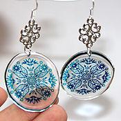 Украшения handmade. Livemaster - original item Earrings clear with blue pattern. Handmade.
