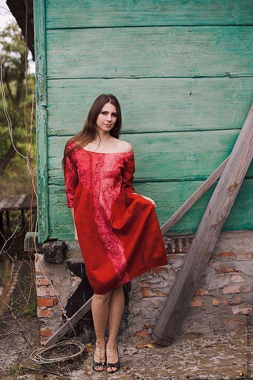 Платья ручной работы. Ярмарка Мастеров - ручная работа. Купить Красное платье-баллон. Handmade. Ярко-красный, платье с рукавом