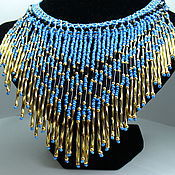 Украшения handmade. Livemaster - original item NUBIA beaded fringe necklace in blue and red. Handmade.