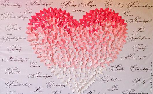 Рекламные стенды ручной работы. Ярмарка Мастеров - ручная работа. Купить Сердце из бабочек. Handmade. Розовый, реклама, бабочки на стену
