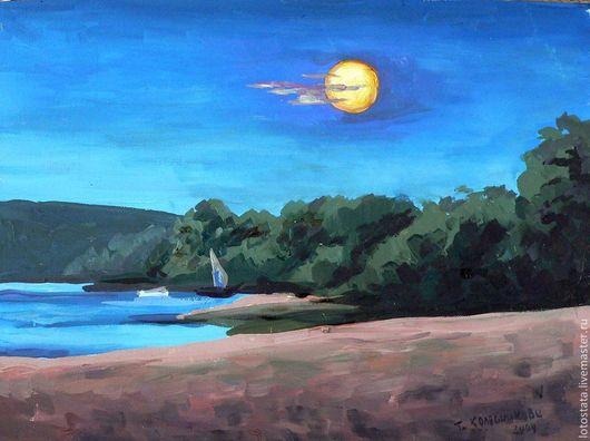 """Пейзаж ручной работы. Ярмарка Мастеров - ручная работа. Купить Картина """"Лунная ночь на Оке"""". Handmade. Картина, пейзаж"""