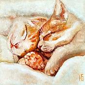 Картины и панно handmade. Livemaster - original item Oil painting the sleeping cat and the cat, romance Warm cats. Handmade.