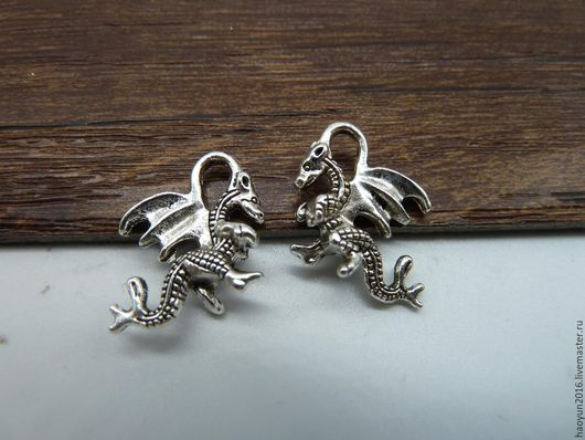 Для украшений ручной работы. Ярмарка Мастеров - ручная работа. Купить 20 шт металлические подвески старинное серебро дракон B174. Handmade.