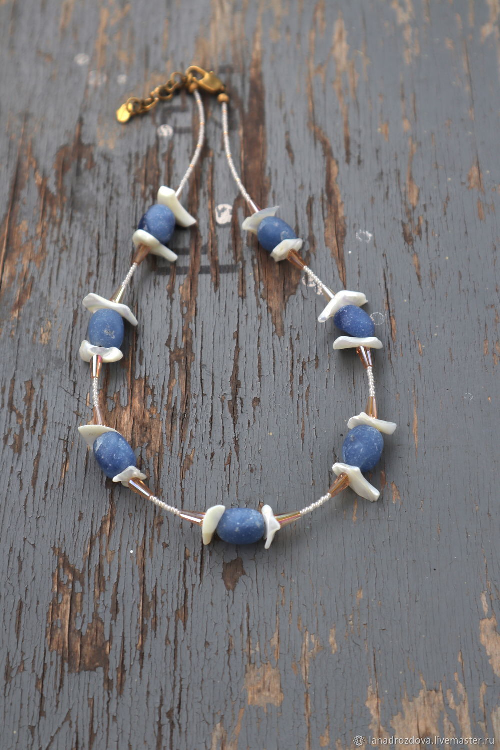 Lapis lazuli and mother-of-pearl beads, Beads2, Almaty,  Фото №1