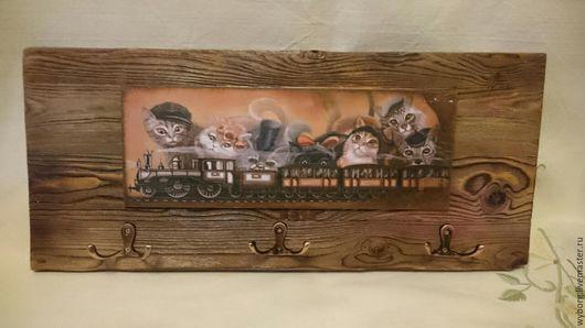 """Прихожая ручной работы. Ярмарка Мастеров - ручная работа. Купить Ключница""""Котики"""". Handmade. Комбинированный, ключница, коты, интерьер, прихожая"""