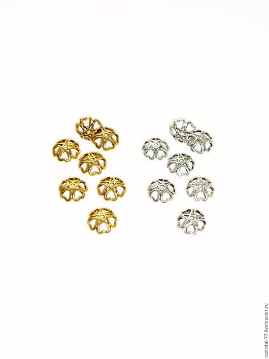 Шапочка для бусин `Сердечки ` 10х3 мм. Цвет ант. золото и ант. серебро