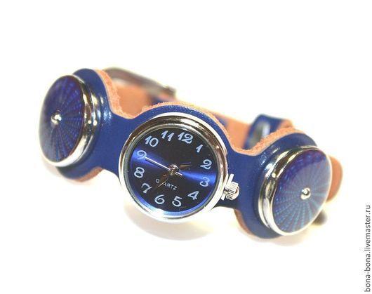"""Браслеты ручной работы. Ярмарка Мастеров - ручная работа. Купить Кожаный браслет-часы """"Bottomless"""". Handmade. Тёмно-синий"""