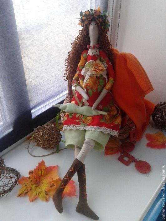 Куклы Тильды ручной работы. Ярмарка Мастеров - ручная работа. Купить Осенний ангел. Handmade. Оранжевый, бязь