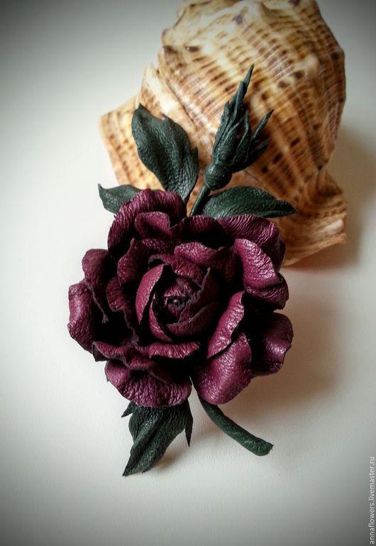 Броши ручной работы. Ярмарка Мастеров - ручная работа. Купить Розочка из кожи .Брошь. Handmade. Бордовый, роза из кожи