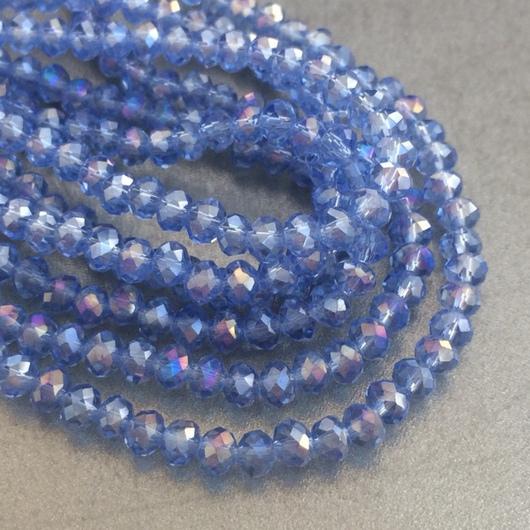 Для украшений ручной работы. Ярмарка Мастеров - ручная работа. Купить Бусины стеклянные 3х4 мм, голубой (нить). Handmade.