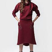 Одежда ручной работы. Ярмарка Мастеров - ручная работа Костюм бордовый теплый юбка и свитшот. Handmade.