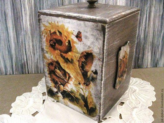 Корзины, коробы ручной работы. Ярмарка Мастеров - ручная работа. Купить Короб для хранения  Подсолнухи - 2. Handmade. Короб