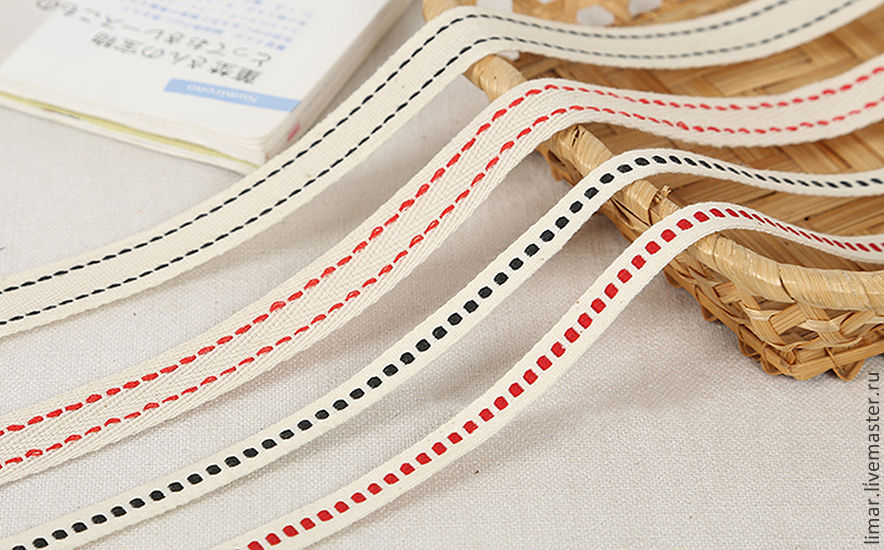 Шитье ручной работы. Ярмарка Мастеров - ручная работа. Купить Хлопковая тесьма 10 и 20 мм, 2 цвета. Handmade.