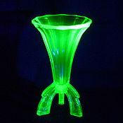 Винтаж handmade. Livemaster - original item Vase on legs. Colored URANIUM glass.. Handmade.