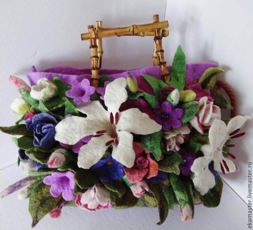 Bag felted. Art bag 'Bouquet with lilies ', Classic Bag, Ekaterinburg,  Фото №1
