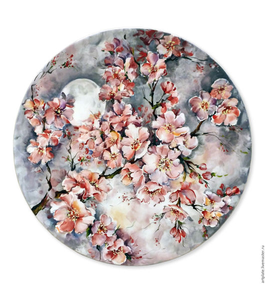 Керамическая тарелка `Вечерняя Сакура`. Керамика ручной работы. Ярмарка мастеров.